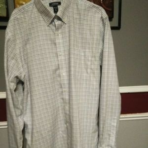 Land's End tailored fit tall plaid shirt sz 17-37